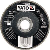 Круг пелюстковий шліфувальний ALUMINIUM OXIDE К 40, ?= 125/22,4 мм [25/100], YT-83272 YATO