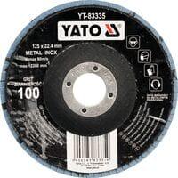 Круг з наждачних пелюстків випуклий ZIRCONIIA ALUMINIUM OXIDE INOX К 36, ?= 125/22,4 мм (DW), YT-83331 YATO