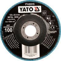 Круг з наждачних пелюстків плоский ZIRCONIIA ALUMINIUM OXIDE INOX К 100, ?= 125/22,4 мм (DW), YT-83315 YATO