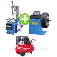 Комплект шиномонтажного оборудования с компрессором BEST T521+W60+MK103-90-3M200V